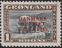 Grønland - 1945. Danmark Befriet - 1 Kr. - Rødt overtryk - Postfrisk