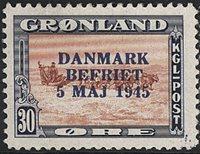 Groenland - Liberation du Danemark - 30 øre - Bleu-gris - Surcharge bleue
