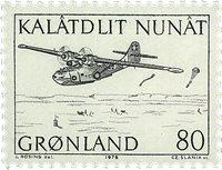 Groenland - 1976. Hydravion amphibie et vaisseau côtier - 80 øre - Noir