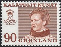 Grønland - Dronning Magrethe II - 90 øre - Brunrød