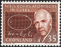 Grønland - 1963. Niels Bohr - 35 øre - Rødbrun