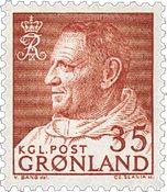 Greenland - King Frederik IX - Dressed in Anorak -  35 øre - Red