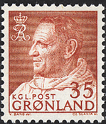 Greenland - King Frederik IX - Dressed in Anorak -  35 øre - Red