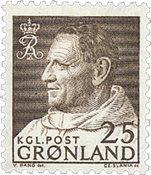 Greenland - King Frederik IX Dressed in Anorak - 25 øre - Brown