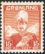 Grønland - Kong Christian X - Rød - Type I - 15 øre