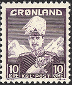 Groenland - Roi Christian X - Violet - Type I - 10  øre
