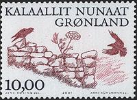 Grønland - 2001. Arktiske vikinger III - 10,00 kr.  - Rødbrun / Grå