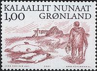 Groenland - 2001. Les Vikings Arctiques III - 1,00  kr - Noir et carmin
