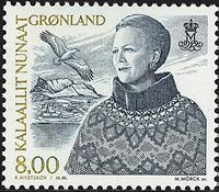 Groenland - 2000-02. Reine Margrethe II - 8,00 kr - Gris-bleu et jaune