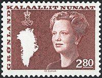 Grønland - Dronning Margrethe II. Ny brugsudgave -  2,80 kr. - Brunrød