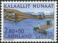 Grønland - Saqqaq idræt - 2,80+0,50 kr. - Flerfarvet