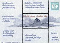 Grønland - 1987. Frimærkeudstillingen HAFNIA 87. -  2,80+1,20 kr. - Miniark