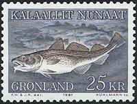 Groenland - 1981. La morue - 25 kr. - Bleu-gris et  brun