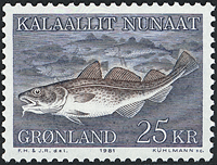 Grønland - 1981. Torsk - 25 kr. - Blå / Brun