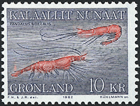 Groenland - 1982. Crevettes - 10 kr. - Bleu et rouge