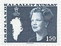 Grønland - Dronning Margrethe II. Ny brugsudgave -  1,50 Kr. - Blågrøn