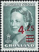 Dronning Margrethe II med overtryk i rødt og blåt - 4,25/0,25 kr. Grøn/Rød