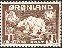 Grønland - Isbjørn - 1 Kr. - Gulbrun