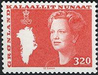 Grønland - Dronning Margrethe II. Ny brugsudgave -  3,20 kr. - Rød