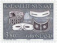 Groenland - 1987. Ustensiles et art local - 3,80 kr - Bleu-gris et violet