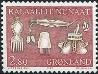 Groenland - 1987. Ustensiles et art local - 2,80 kr - Rouge et brun