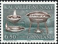 Grønland - 1986. Brugskunst - 6,50 kr. - Brun / Grøn