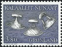 Groenland - 1986. Art local - 3,80 kr - Vert-bleu,  noir et orange