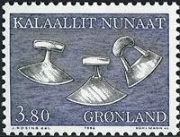 Grønland - 1986. Brugskunst - 3,80 kr. - Sort / Blå