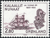 Grønland - 1000-års serien V. År 1800-2000 - 2,80 kr. - Rødbrun