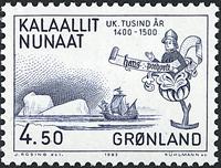 Groenland - 1983. Les 1000 ans de l´histoire du Groenland - 4,50 kr - Bleu