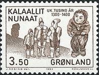 Grønland - 1000-års serien III. År 1200-1500 - 3,50 kr. - Brun
