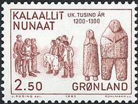 Groenland 1983 Les 1000 ans de l´histoire du Groenland -2,50 kr- Brun-rouge