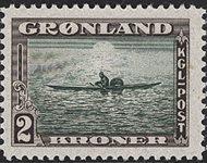 Groenland - Emission américaine - 2 kr. - Sépia et  vert