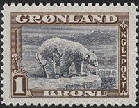 Grønland - 1945 Amerikansk udgave - 1 kr. - Postfrisk