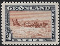 Grønland - 1945 Amerikansk udgave - 30 øre - Postfrisk