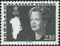 Grønland - Dronning Margrethe II. Ny brugsudgave -  2,30 kr. - Mørkegrøn