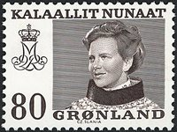 Groenland - Reine Margrethe II - Inscriptions modifiées - 80 øre - Brun
