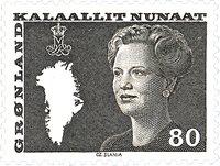 Grønland - Dronning Margrethe II. Ny brugsudgave -  80 øre - Brun