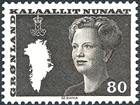 Groenland - Reine Margrethe II - 80 øre - Brun