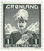 Grønland - Kong Christian X - Grønsort - Type I - 1 øre