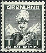Groenland - Roi Christian X - Gris-vert - Type I -  1 øre