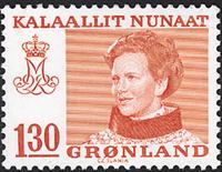 Groenland - Reine Margrethe II - Inscriptions modifiées - 130 øre - Rouge