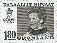 Groenland- Reine Margrethe II -Inscriptions modifiées -180 øre- Olive foncé