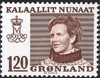 Groenland- Reine Margrethe II - Inscriptions modifiées -120 øre- Brun-rouge