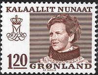 Groenland- Reine Margrethe II - Inscriptions modifiées -120 øre- Brun-rouge
