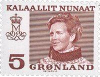 Groenland - Reine Margrethe II - Inscriptions modifiées - 5 øre - Grenat
