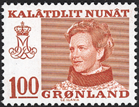 Grønland - Dronning Magrethe II - 100 øre - Rød