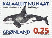 Grønland - 1996. Grønlandske hvaler - 0,25 kr. - Matrød / Flerfarvet