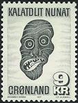 Grønland - 1977. Grønlandsk maske - 9 kr. - Grønsort