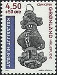 Grønland - 1999. Grønlands Nationalmuseum - 4,50+0,50 kr.- Blå/Rødbrun/Sort